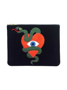Poppy Lissiman | Serpent Heart Clutch - Glitter/Pebbled metallic faux leather/Patent faux leather - 23 x 18.5 cm | shop.nylon.com