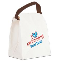 Personalized Custom I Heart Swimming Canvas Lunch Bag and other Swimmer themed Gifts on CafePress, http://www.cafepress.com/dd/84605975