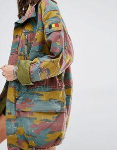 Milk It - Veste militaire oversize vintage motif camouflage coloré