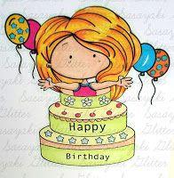 Birthday Girl Birthday Girl with sentiment Birthday Girl with sentiment coloured by Gemma Ness using Birthday Girl w/Se. Digital Stamps, Copic, Girl Birthday, Smurfs, Challenge, March, Glitter, Happy, Projects