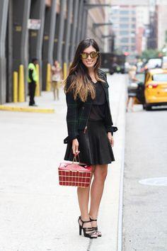 Little red. Metal basket bag. Street style. NYFW SS15