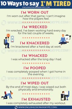 10 Ways to Say I'm Tired in English - English Lesson via Skype
