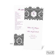 Romantic Damask Wedding Program