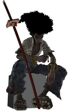 View an image titled 'Afro Art' in our Afro Samurai art gallery featuring official character designs, concept art, and promo pictures. Afro Samurai, Samurai Anime, Samurai Art, Samurai Warrior, Black Characters, Fantasy Characters, Anime Characters, Art Anime, Anime Manga