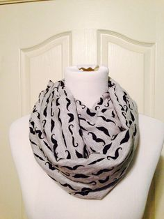 Gray mustaches scarf now available in by DimpleCheekBoutique