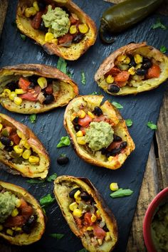 Tex-Mex Twice Baked Potato Skins (Vegan)