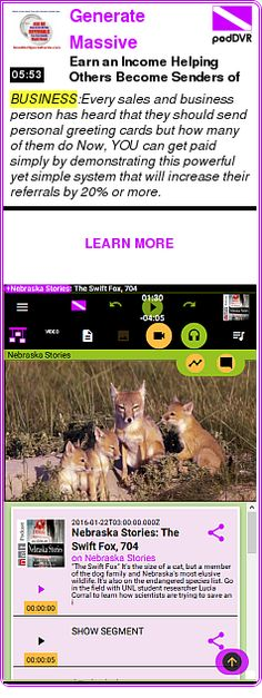 #BUSINESS #PODCAST  Generate Massive Numbers of Referrals    Earn an Income Helping Others Become Senders of Cards    LISTEN...  http://podDVR.COM/?c=99daf220-1752-8caf-6af2-1d092804b954