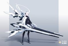 Female Character Concept, Fantasy Character Design, Character Design Inspiration, Character Art, Robot Concept Art, Armor Concept, Weapon Concept Art, Anime Weapons, Anime Warrior