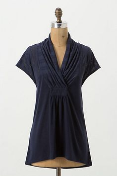 Deletta's slubby tee boasts a gathered, face-flattering neckline and a drapey, asymmetric hem. (Navy)