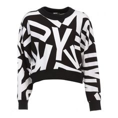DKNY Logo Oversized Cropped Pullover Black found on Polyvore