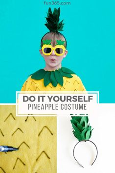 Create this no-sew pineapple costume to give your child the cutest DIY costume this halloween. Enjoy a free printable template to create with ease! Diy Fruit Costume, Fruit Halloween Costumes, Pineapple Costume Diy, Pineapple Halloween, Ghost Halloween Costume, Diy Costumes, Halloween Diy, Halloween Tricks, Halloween Images