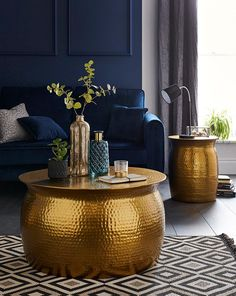 Blue And Gold Living Room, Navy Living Rooms, Classy Living Room, My Living Room, Living Room Decor, Italian Living Room, Blue Coffee Tables, Drum Coffee Table, Unique Coffee Table