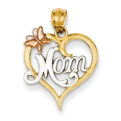 14k Two-tone and Rhodium Mom Heart Pendant