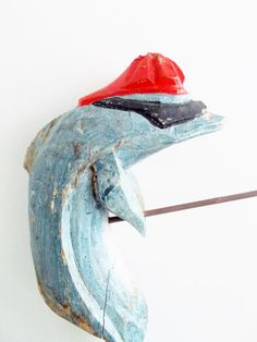 Vintage Shelf Sitter Carved Wooden Dolphin Fishing=