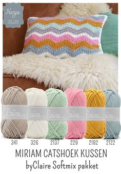 Henja: online garenwinkel Yarn Color Combinations, Colour Schemes, Color Patterns, Crochet Cushions, Crochet Motif, Crochet Patterns, Paint Color Chart, Crochet Fairy, Yarn Painting
