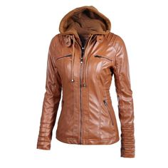 faux Leather Hooded Long Sleeve Motorcycle Jacket