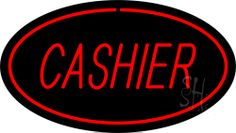 Cashier Oval Red Neon Sign 17 Tall x 30 Wide x 3 Deep, is 100% Handcrafted with Real Glass Tube Neon Sign. !!! Made in USA !!!  Colors on the sign are Red. Cashier Oval Red Neon Sign is high impact, eye catching, real glass tube neon sign. This characteristic glow can attract customers like nothing else, virtually burning your identity into the minds of potential and future customers. Cashier Oval Red Neon Sign can be left on 24 hours a day, seven days a week, 365 days a year...for decades…