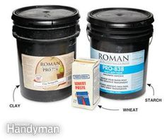 A pail of clay wallpaper paste, a pail of starch wallpaper paste and a box of wheat wallpaper paste. Wallpaper Roller, Diy Wallpaper, Wallpaper Paste, Wallpapering Tips, Natural Sponge, How To Install Wallpaper, Paint Stain, Used Vinyl, The Cure