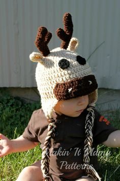 Crochet Hat PDF PATTERN Deer Hat Moose Hat  by MakinItMamaPatterns, $3.99
