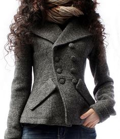 Double Breasted Short Wool Coat Womens Big Lapel Jacket by zeniche, $99.00