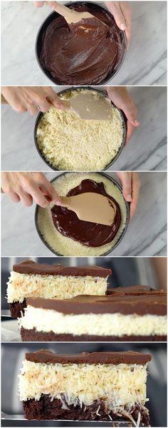 Brownie de Prestígio … O meu FAVORITO! ( veja a receita passo a passo ) #brownie #prestígio #browniedeprestígio #sobremesa #tastemade