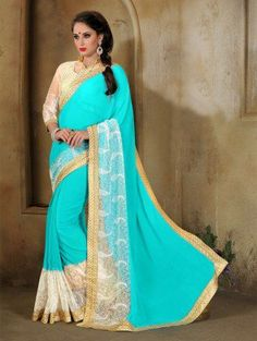 Blue and White Georgette Saree with Lace Work