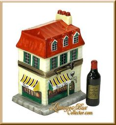 Wine Cafe w/ 4 Bordeaux Bottles Limoges Box by Beauchamp