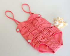 Vintage Catalina Swimsuit: Baby Bombshell in Blushing Coral Pink with Ruching, Girls' Size 4-SOLD