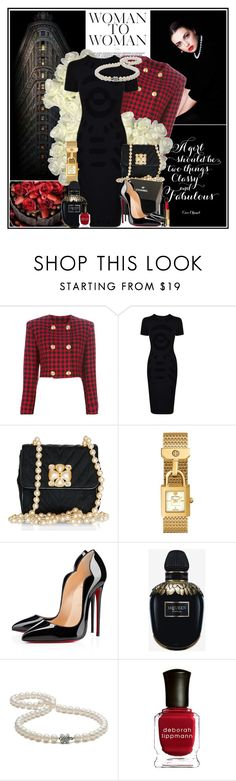 """black dress, white pearls, red accents"" by manicurelover ❤ liked on Polyvore featuring Chanel, Versace, McQ by Alexander McQueen, Tory Burch, Christian Louboutin, Alexander McQueen, Tiffany & Co., Deborah Lippmann and vintage"