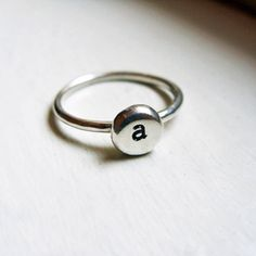 Initial Ring  Pebble Monogram Signet Ring  Stacking by brightsmith, $27.00
