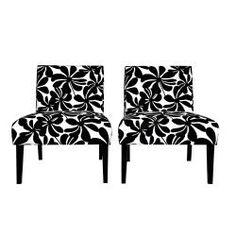 @Overstock - The set of two Niles armless chairs feature gently tapered legs and deep seat cushions for extraordinary comfort. The Niles chairs are covered in a contemporary black floral on a creamy white background.http://www.overstock.com/Home-Garden/Portfolio-Niles-Black-Floral-Armless-Chair-Set-of-2/6807985/product.html?CID=214117 $279.00