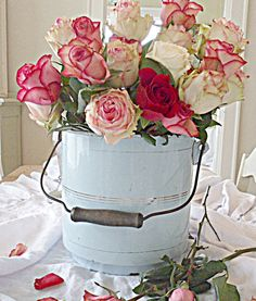Rare French Large Enamel Bucket w/ Lid. $50.00, via Etsy.