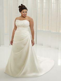 A-Line with Strapless Neckline Plus Size Wedding Dress