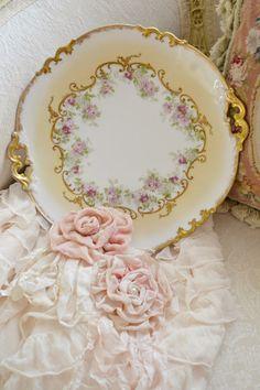 Stunning Antique AK CD Limoges Porcelain Cake Plate
