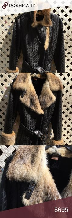 Autunno shearling jacket Vintage autunno shearling a fur trim Autunno shearlings Jackets & Coats