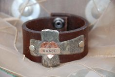 Cross & Heart Leather Cuff by FancyGirlDesigns on Etsy, $25.00