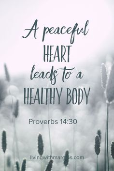 Proverbs A peaceful heart leads to a healthy body. Biblical Quotes, Bible Verses Quotes, Bible Scriptures, Faith Quotes, Strong Quotes, Peace Bible Verse, Peace Quotes, Quotes To Live By, Change Quotes