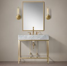 RH's Hudson Metal Powder Washstand:We looked to the last century to inform our collection's aesthetic, creating an open-back sink and matching storage with the minimalist lines of the Timeless Bathroom, Beautiful Bathrooms, Dream Bathrooms, Vanity Sink, Bath Vanities, Single Vanities, Sinks, Powder Room Vanity, Powder Rooms