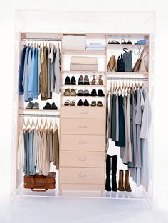 California Closets offers custom systems in a range of prices, designed according to your needs and preferences. The system pictured here has three drawers for sweaters, a lingerie drawer with Plexiglas dividers, a pull-out belt holder, and pull-out rod for airing clothes. California Closets, www.calclosets.com. Similar systems: ClosetMaid offers a custom-installed system with laminated particleboard shelves, www.closetmaid.com. Poliform designs custom-closet systems in a variety of woods…