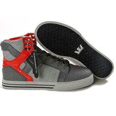 Supra Shoes Skytop Tuf Grey Red Mens