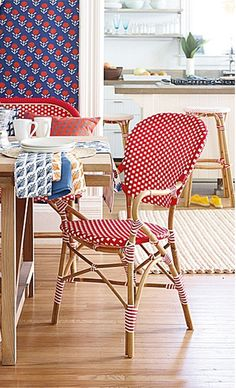 kitchen furniture, polka dots, dining room chairs