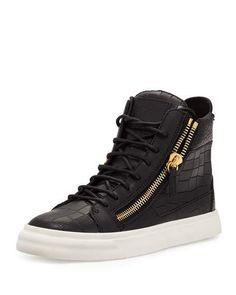 Crocodile-Embossed High-Top Sneaker, Nero