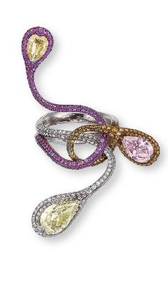 A STYLISH COLOURED DIAMOND, DIAMOND AND PINK SAPPHIRE RING, BY WALLACE CHAN Of stylized design, comprising three terminals, one set with a pear-shaped yellow diamond,  Signed Wallace Chan