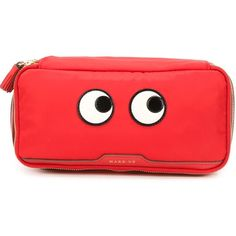 Anya Hindmarch 'Eyes' make-up bag ($520) ❤ liked on Polyvore featuring beauty products, beauty accessories, bags & cases, red and anya hindmarch