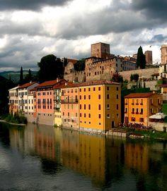 Bassano del Grappa , province of vicenza , Veneto region, Italy, view from the Alpini Bridge