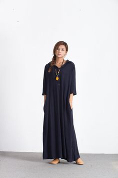 Oversize Women's maxi Dress Loose linen cotton dress