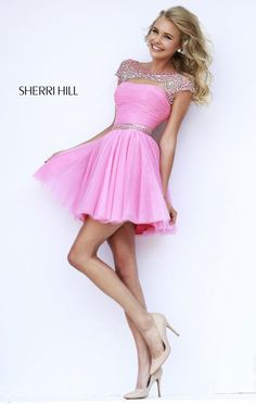 Sherri Hill 11191 Pink/Silver Beaded Cap Sleeves Short Homecoming Dress 2015 [Sherri Hill 11191 Pink/Silver] - $178.00