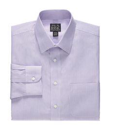 Traveler Slim Fit Spread Collar Stripe Dress Shirt CLEARANCE