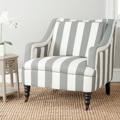 spindle chair with blue and white striped upholstery - such a ...