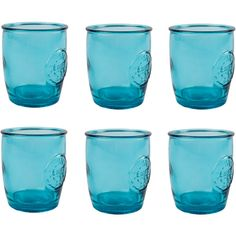 Jarapa Authentic Recycled Blue Glass Tumblers Set of 6 450ml ($41) ❤ liked on Polyvore featuring home, kitchen & dining, drinkware, glass tumbler, blue glass tumblers, blue glassware, glass tumbler set and recycled glassware